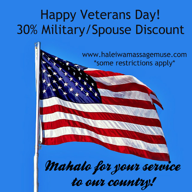 American flag announces veterans day military massage discount