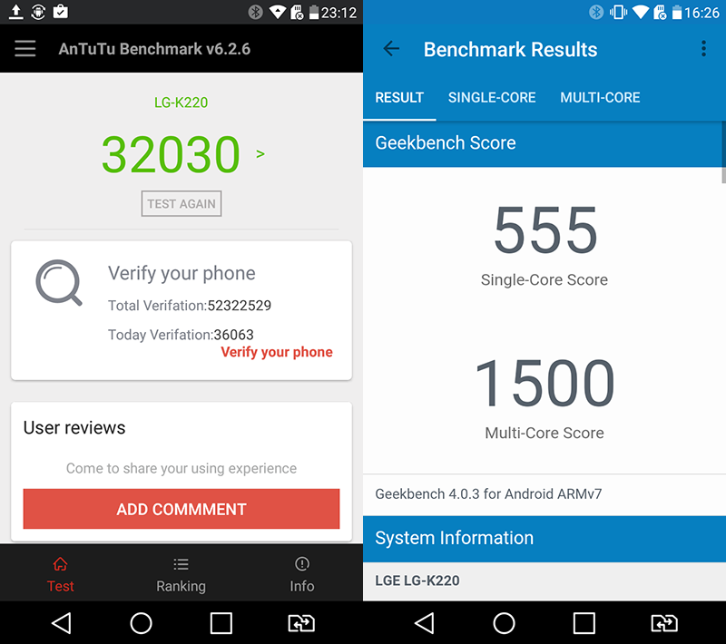 Benchmark scores of LG X Power