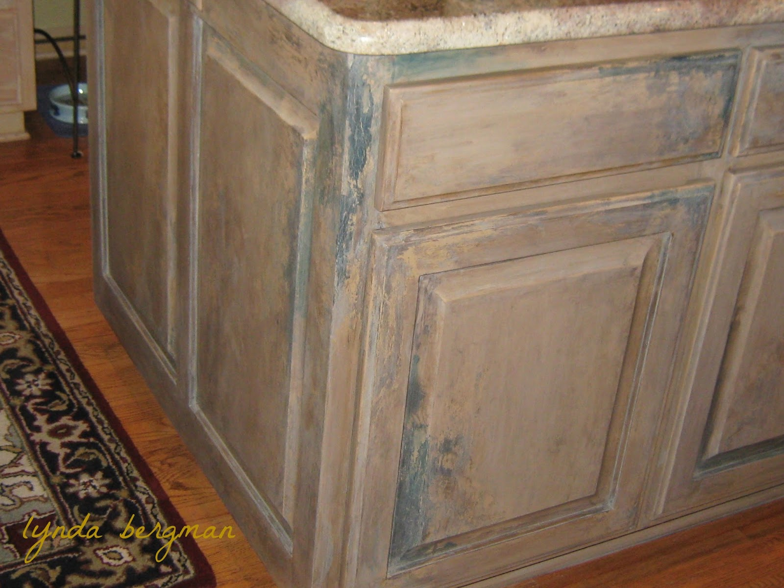 Best Kitchen Gallery: Lynda Bergman Decorative Artisan Painting A Distressed Aged of Pickled White Kitchen Cabinet Stains on rachelxblog.com
