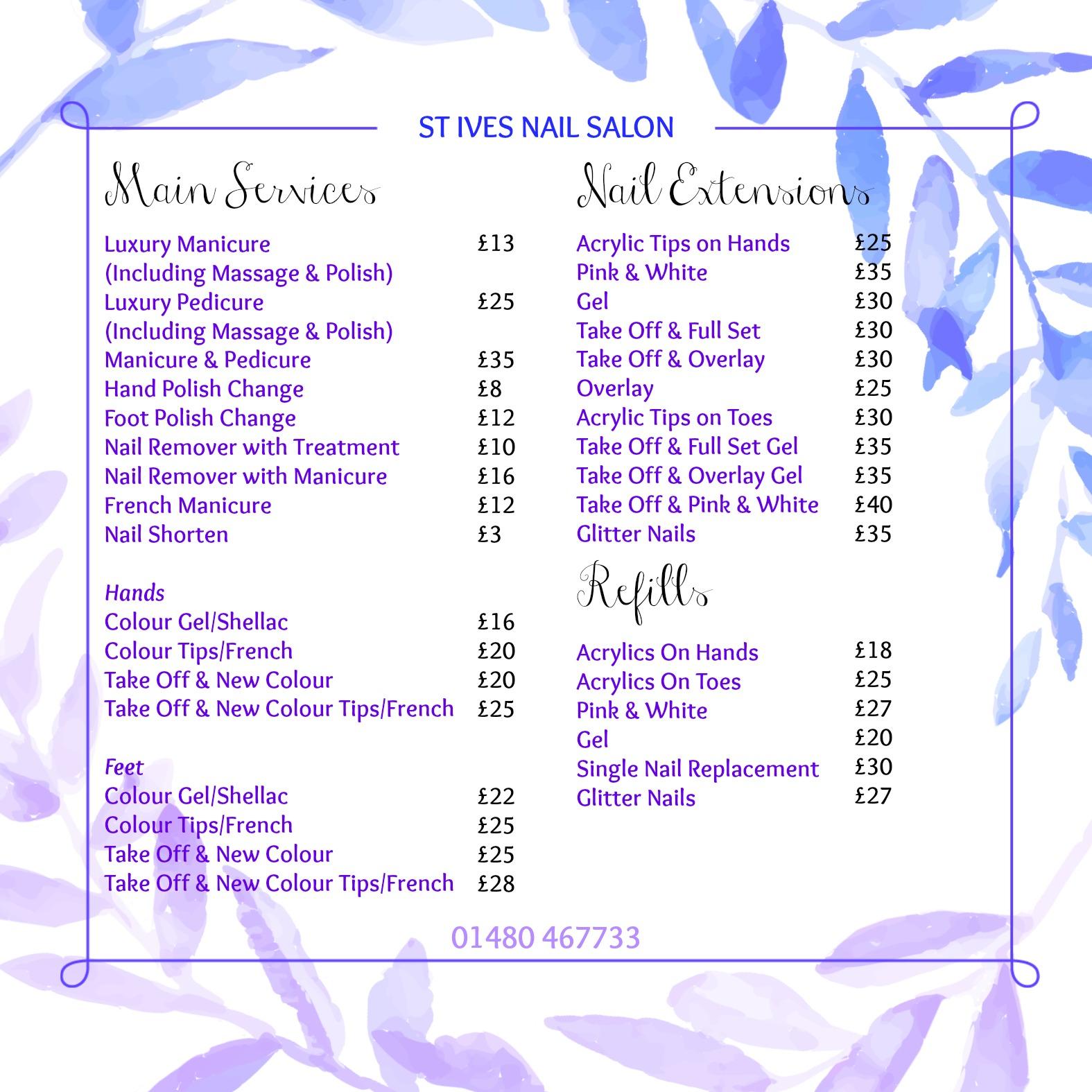 Price List | St Ives Nail Salon