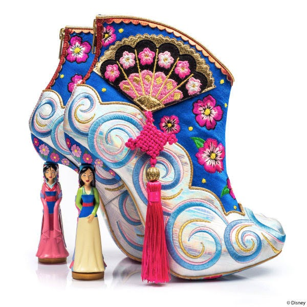 blue Disney Mulan themed ankle boots on white background