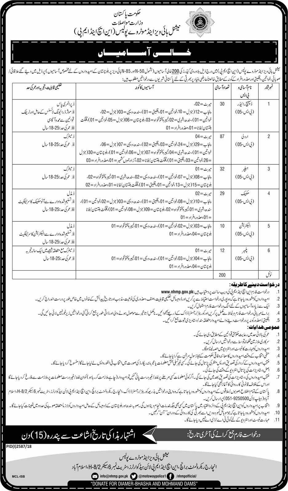 National Highway and Motorway Police NH & MP Jobs 2018 – www.nhmp.gov.pk