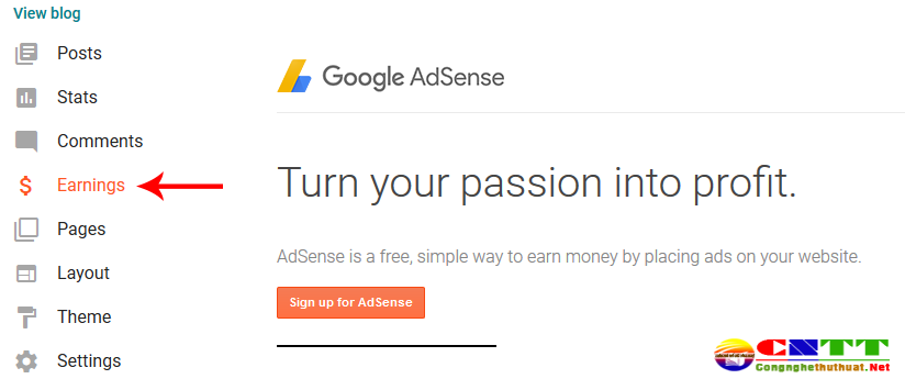 Kiếm tiền google adsense bằng blogspot