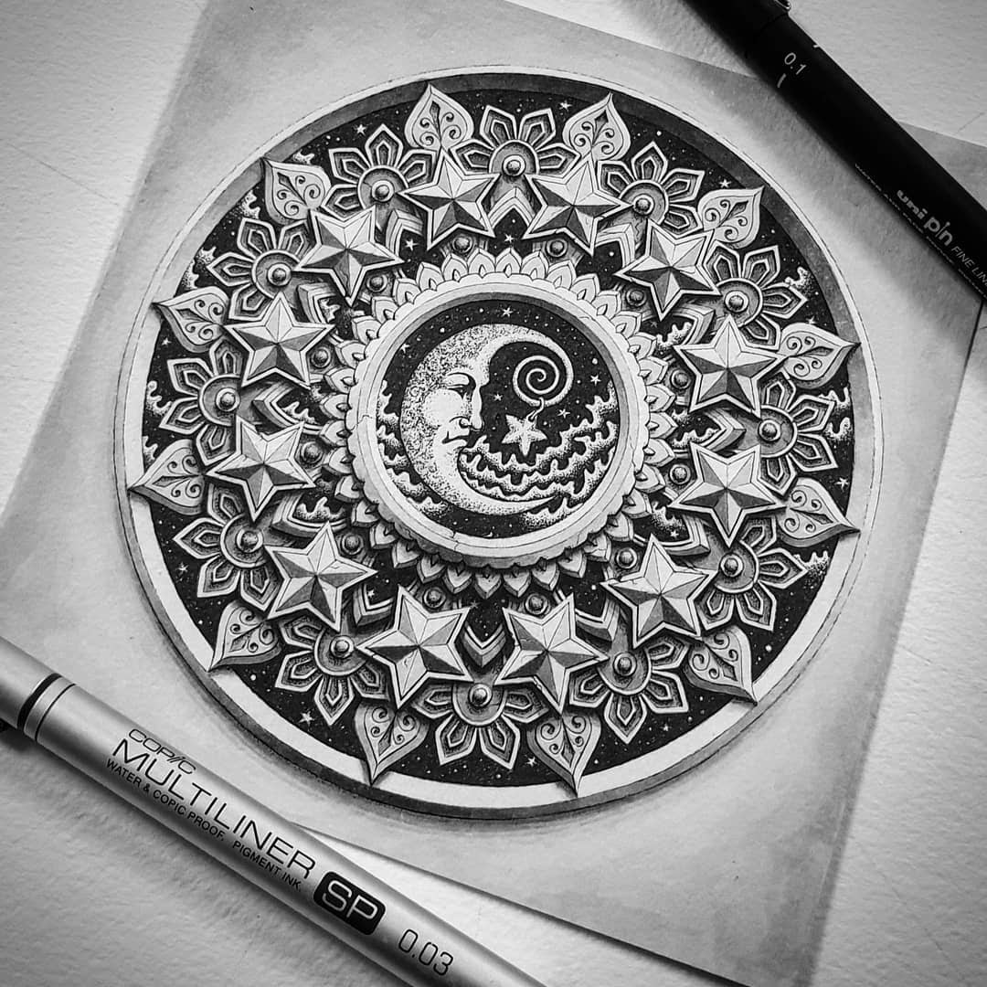 05-The-moon-Baz-Furnell-3D-Looking-Mandala-Drawings-www-designstack-co
