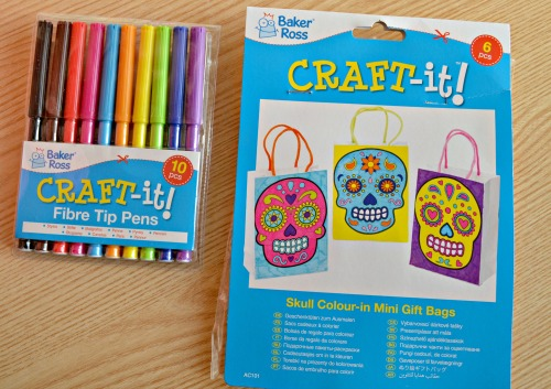 Day of the Dead Colour-in Mini Gift Bags from baker ross vreview