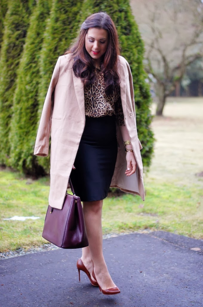 Joe Fresh Silk blouse and Prada Bordeaux Saffiano Lux Tote
