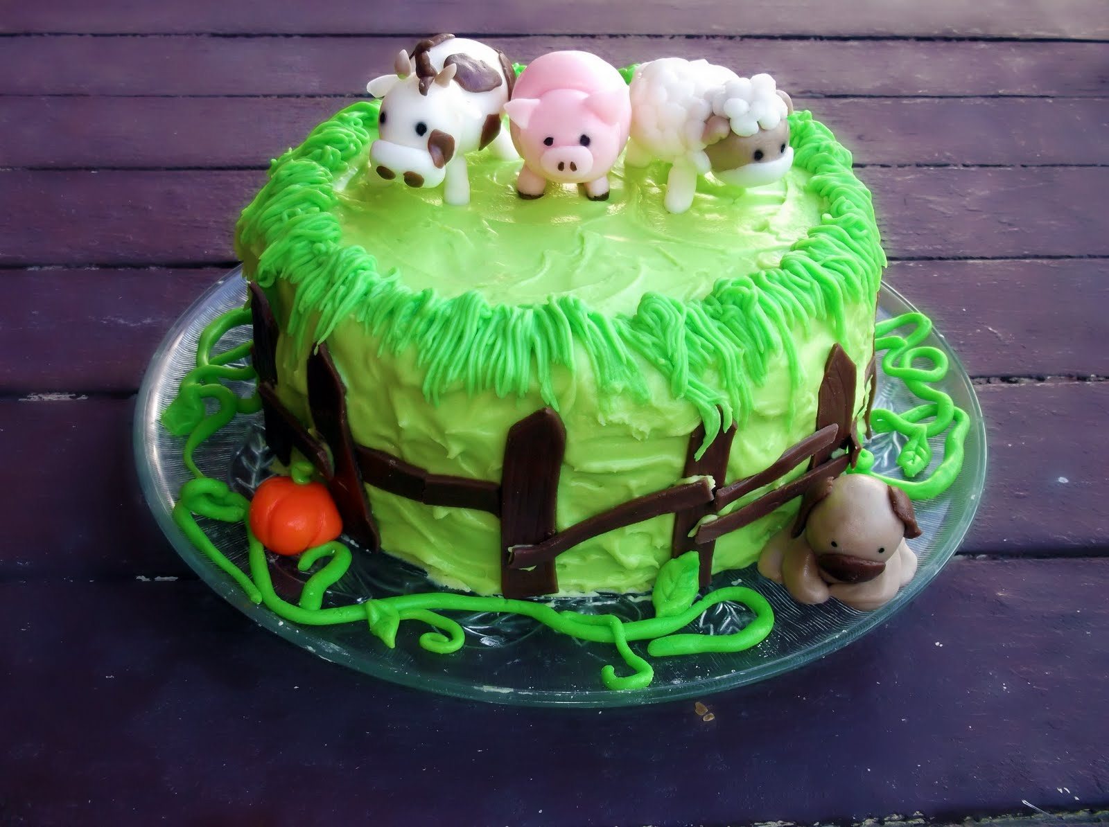 Lick The Spoon Farm Animal Rainbow Birthday Cake