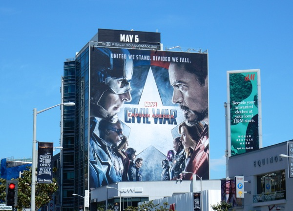 Giant Captain America Civil War film billboard