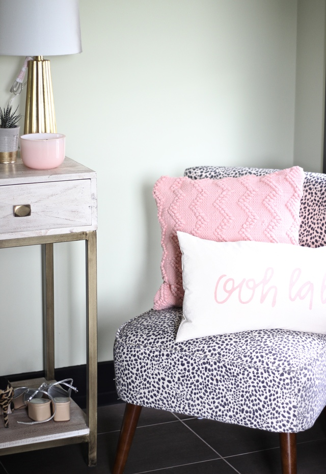 DIY Palm Print Bench, Blogger Entrance Way, Interior Design, Palm Print Leopard, Homesense