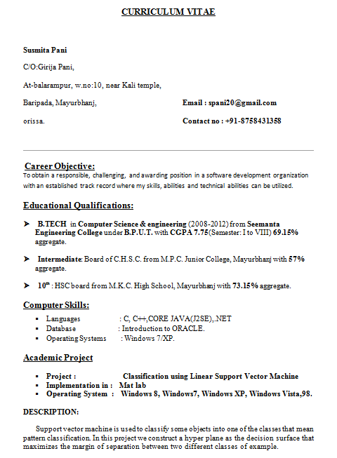 resume format for b tech cse students