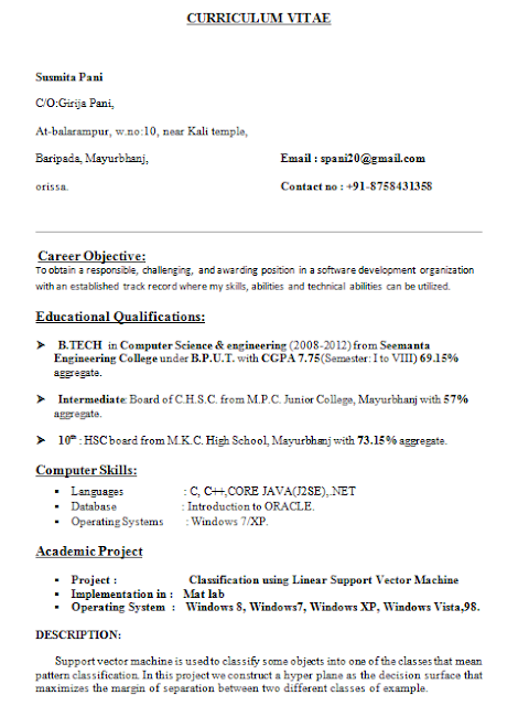 Resume Format For Freshers B Tech Cse Resume Layout In