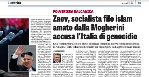 Italian La Verita: Zaev, a socialist who has ties to Islam, accuses Italy of genocide