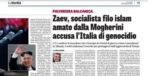 Italian La Verita: Zaev, a socialist who has ties to Islam, accuses Italy of genocide