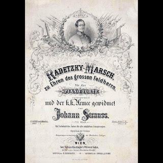 Imagen con un cartel original de la Marcha Radetzky de Strauss en su estreno en Viena en 1848