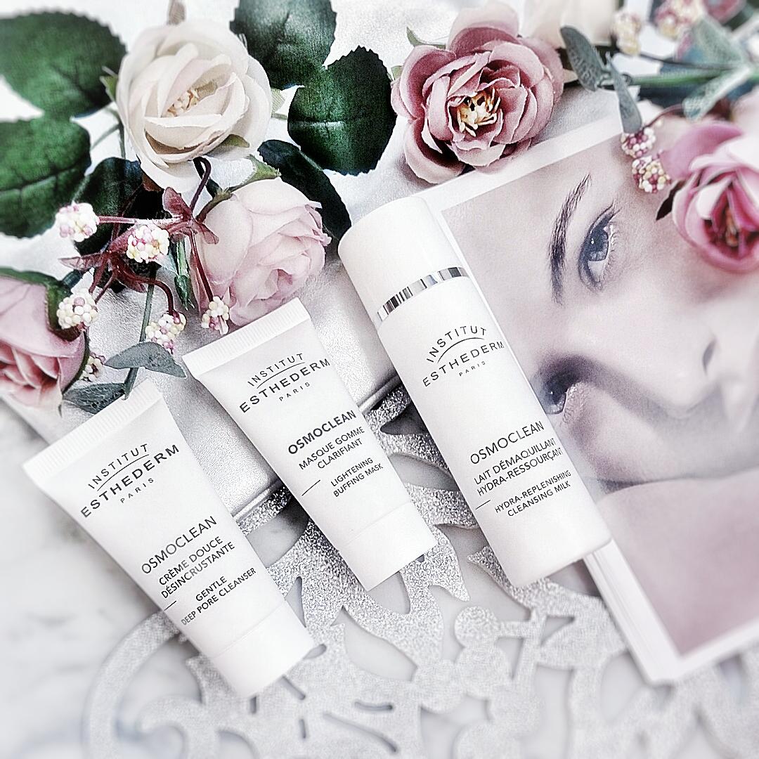 Institut Esthederm Osmoclean gentle cleanser, Lightening Buffing Mask, Cleansing Milk, Eau Cellulaire face cream, Adaptasun