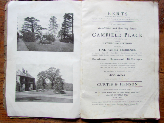 Photograph of pages from the 1921 auction brochure for Camfield Place, part of The Peter Miller Collection