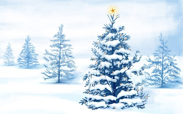 Snow Christmas Tree High Resolution Wallpaper