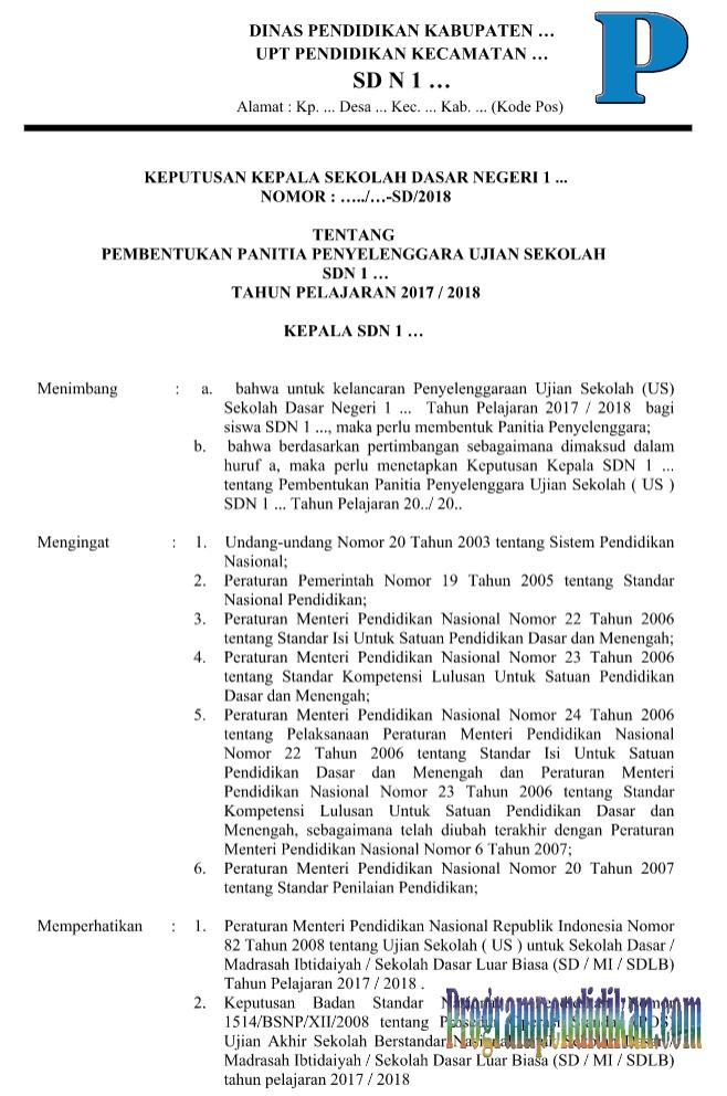 Contoh SK Panitia US SD/MI Terbaru 2018