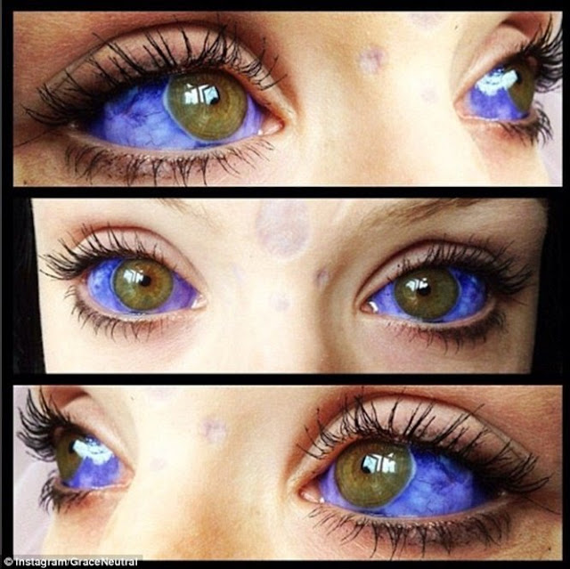 Foto de Grace Neutral com o olho tatuado
