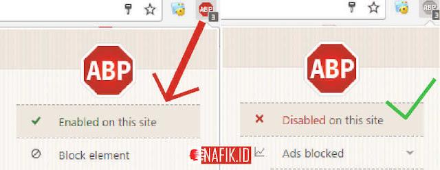 Cara menonaktifkan adblock pada UC browser / ABP agar nafik.id berkerja sempurna