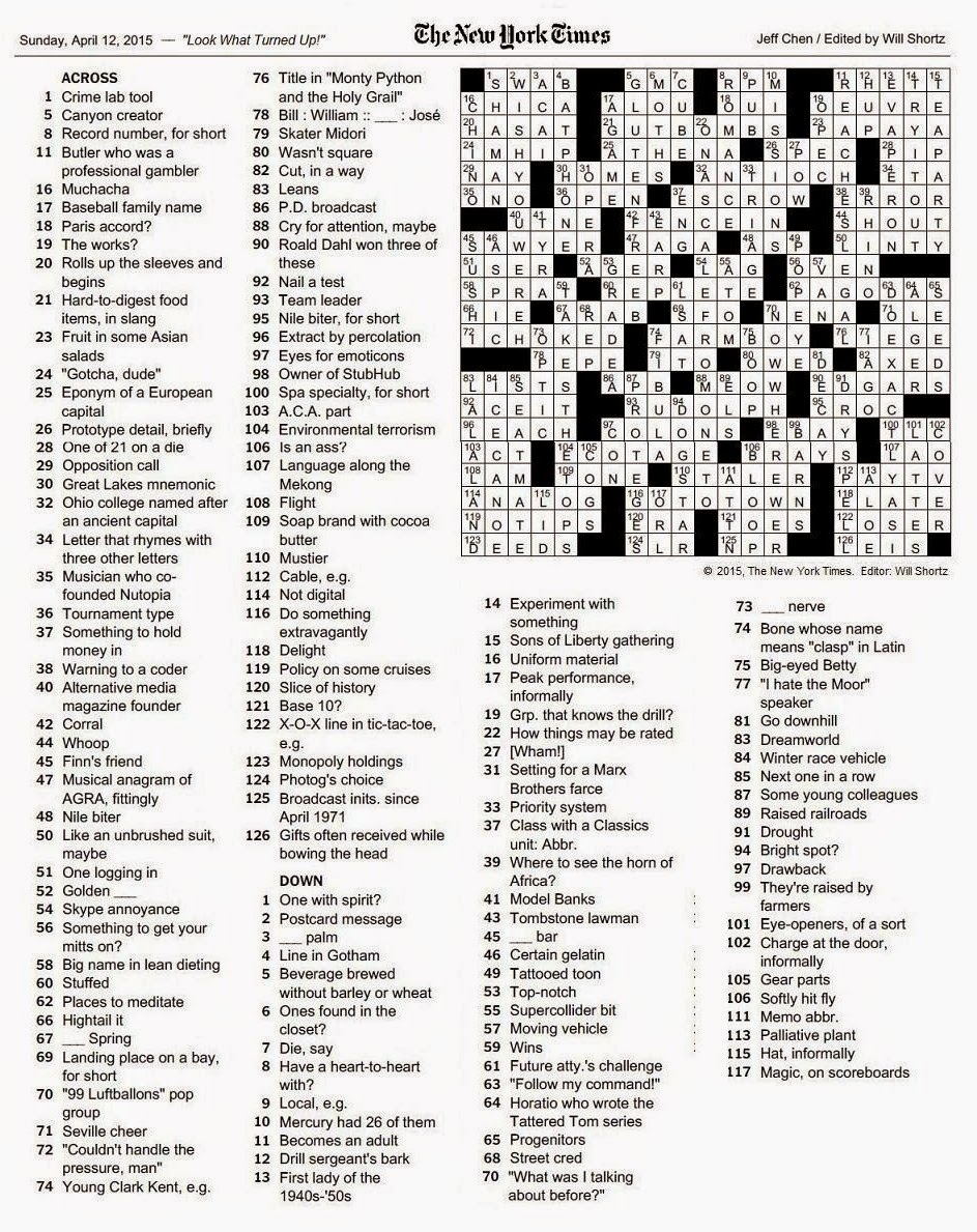 The New York Times Crossword In Gothic 04 12 15 Look What Turned Up
