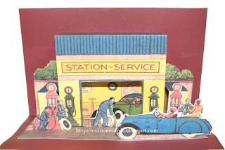 vintage gas station pop up card