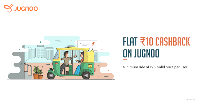 Jugnoo Flat Rs 10 Cash Back Using Freecharge Wallet
