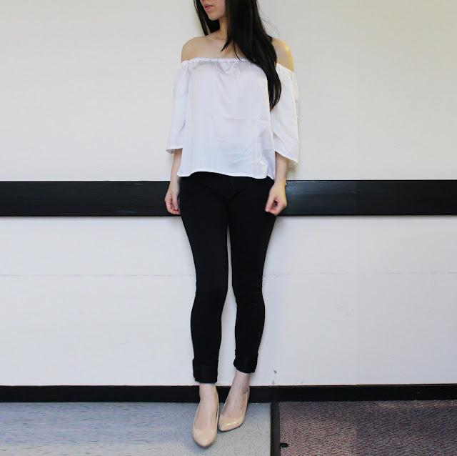 lola's ethical fashion blog review, lola's ethical fashion review, lola's ethical fashion bardot top review, white cotton bardot top outfit, bardot top off shoudered outfit cotton, organic fashion uk