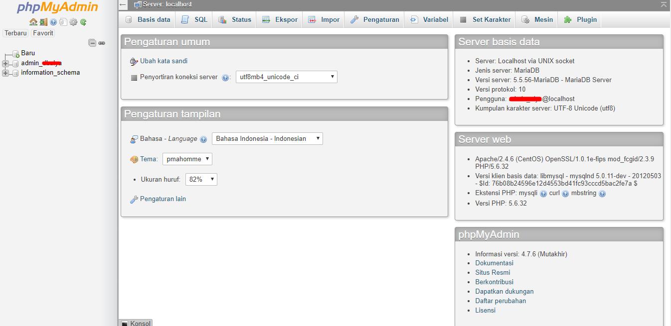 phpMyAdmin Interface Database