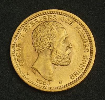 Sweden 20 Kronor Gold Coin King Oscar Ii 1880 World