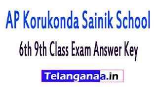 AP Korukonda Sainik School 6th 9th Class Exam Answer Key