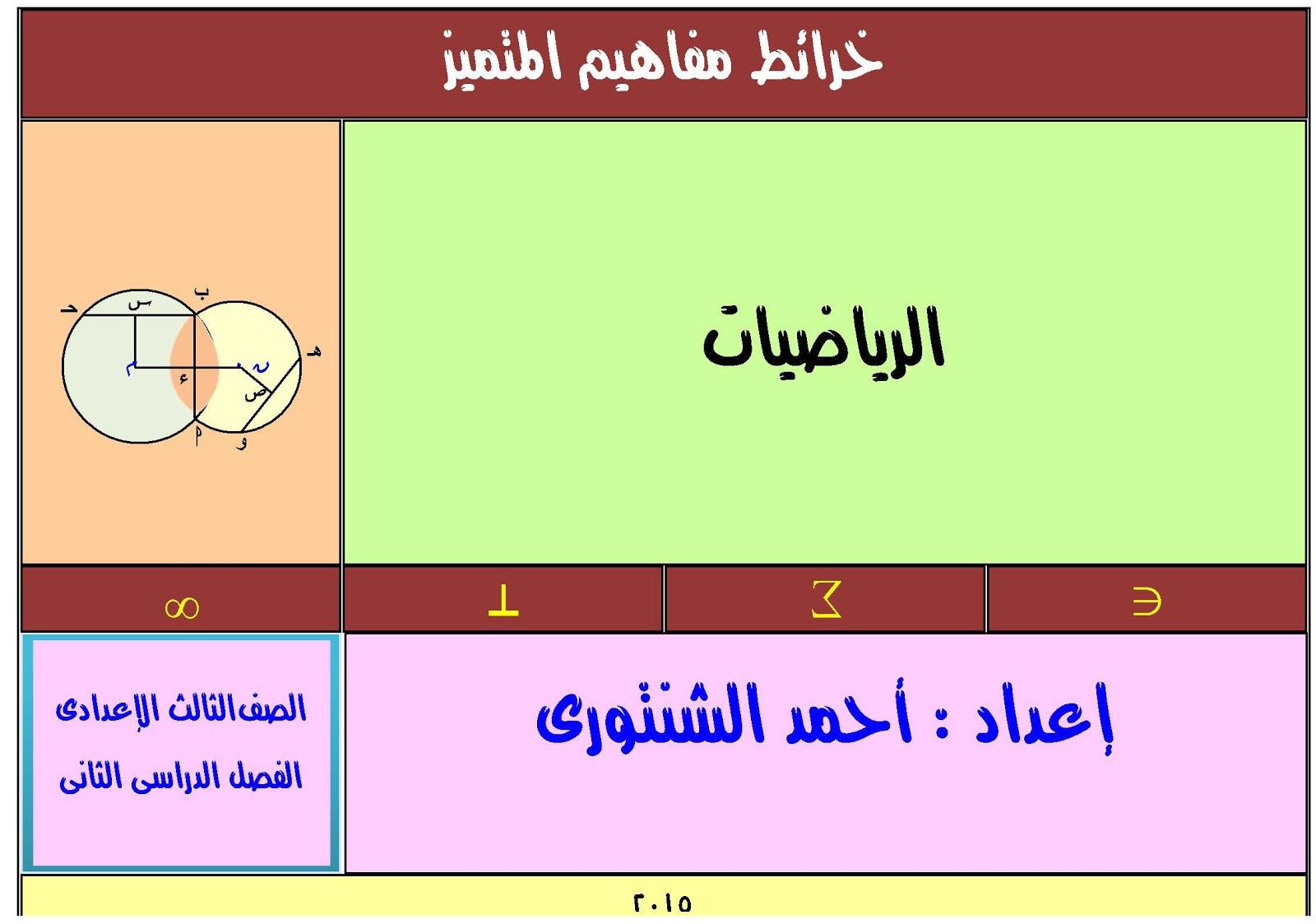 تلخيص الرياضيات جبر وهندسة للصف الثالث الاعدادى 2016 الاستاذ المتمكن احمد الشنتورى الترم الثانى