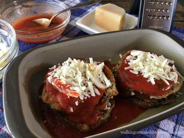 Healthy Baked Eggplant Parmesan stacked slices from Walking on Sunshine