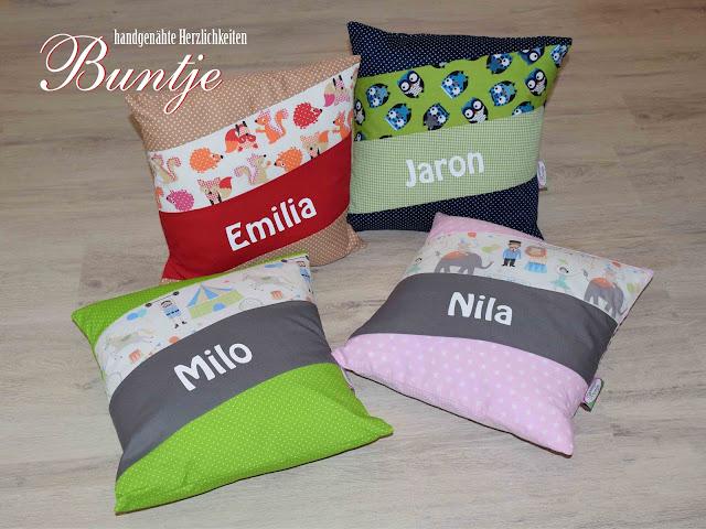 Geschenk Geburt Taufe Kindergarten Namenskissen Kissen Name Milo Nila Jaron Emilia rosa grün blau rot braun