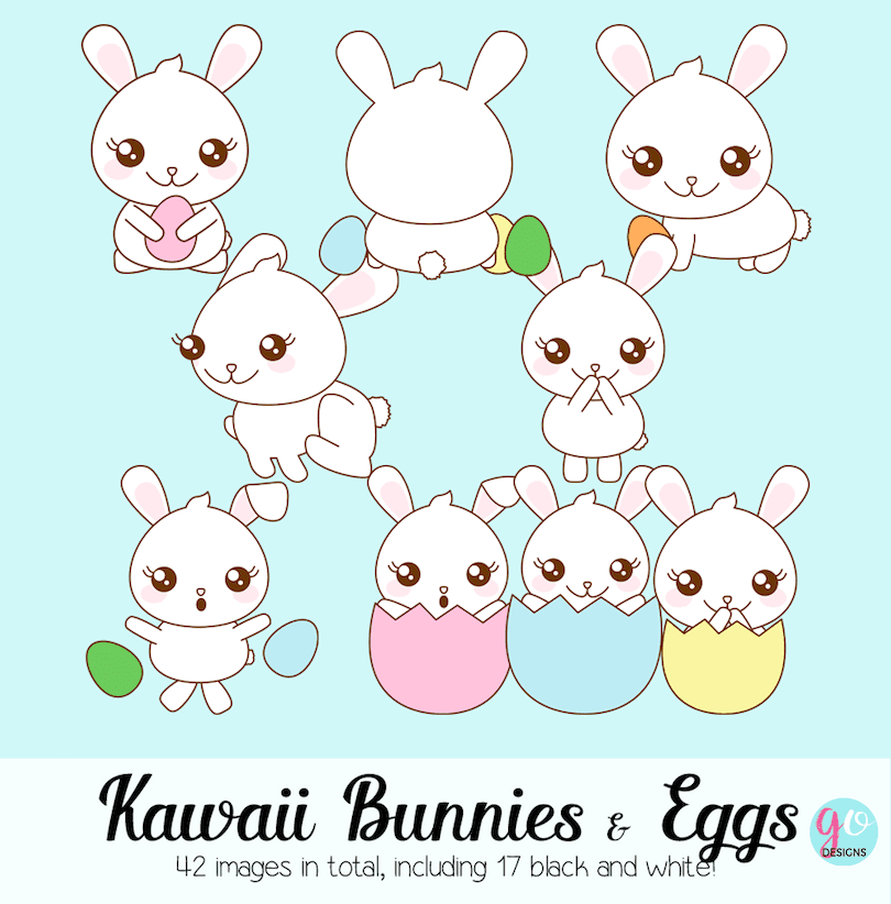 Clipart: Kawaii bunnies and eggs
