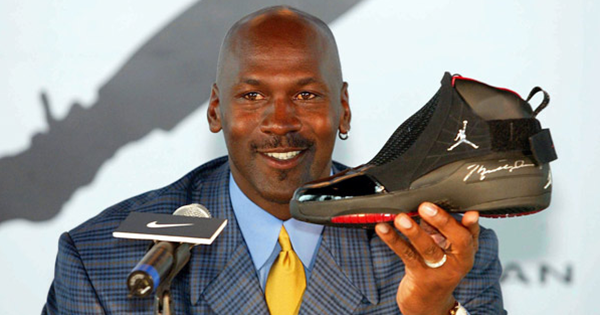 Michael Jordan during press conference for his Nike shoes
