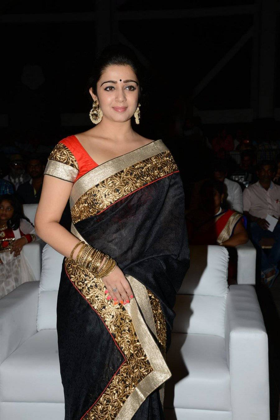 Tollywood Actress In Black Saree At Audio Launch Charmy