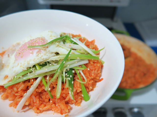 kimchi fried with sesame spring onion salad | salt sugar and i