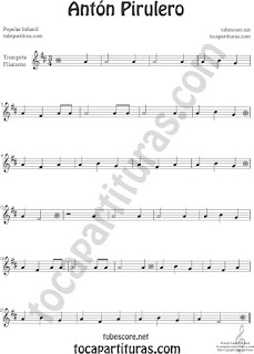 Trompeta y Fliscorno Partitura de Antón Pirulero Sheet Music for Trumpet and Flugelhorn Music Scores