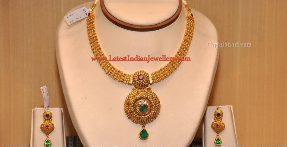 40 Grams Designer Antique Gold Necklace Set