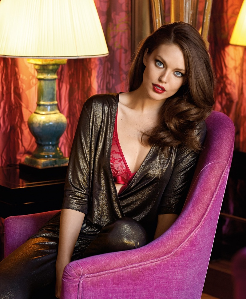Model Emily DiDonato poses in Yamamay Nightwish lurex robe