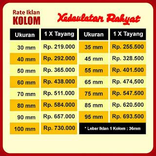 Tarif iklan kolom koran Kedaulatan Rakyat 2017