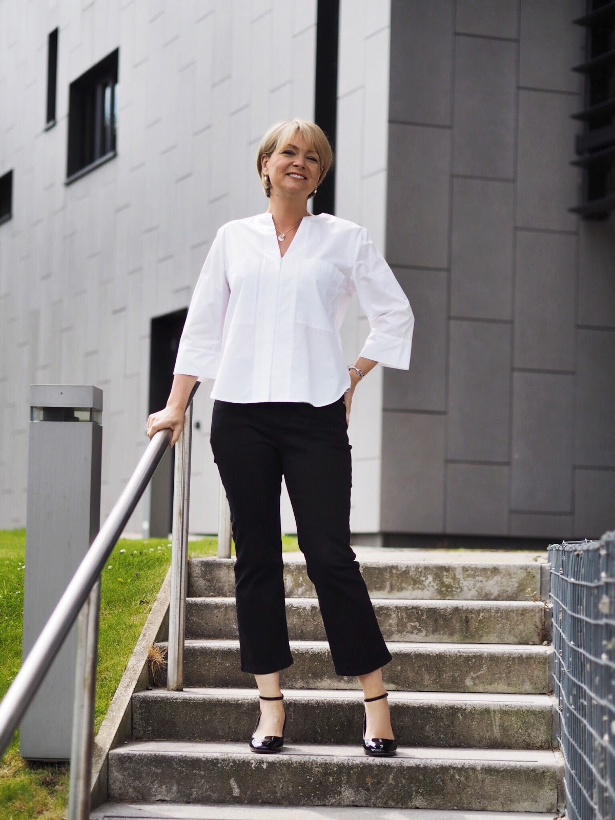 Nikki, Midlife Chic, Marks and Spencer white top and denim challenge