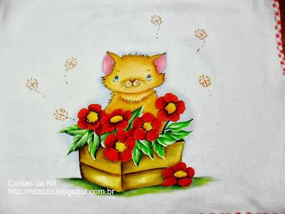 pintura em tecido gatinha na floreira