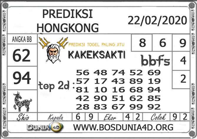Prediksi Togel HONGKONG DUNIA4D 22 FEBRUARI 2020