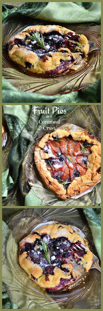 These cornmeal crust grilled fruit pies with mascarpone filling are the perfect adult dessert. Fill with your choice of fruit and a balsamic vinegar, touch of pepper cheese filling makes these pies rock! #pies www.thisishowicook.com