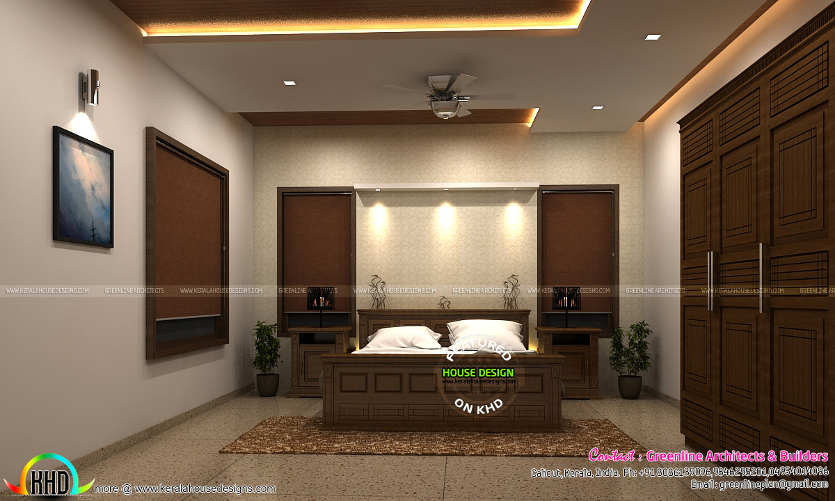 Living room and master bedroom interior designs kerala for Master bedroom interior