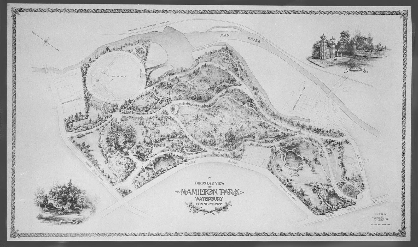 the original landscape plan for hamilton park copy in the collection of the mattatuck museum