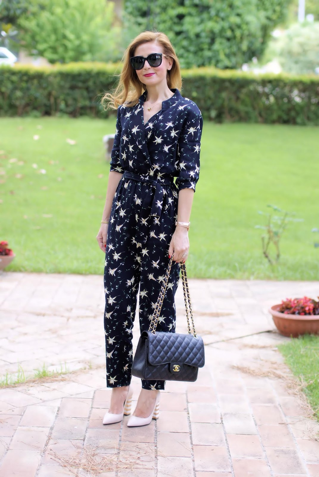 Floral jumpsuit, Chanel 2.55 and Pollini shoes on Fashion and Cookies fashion blog, fashion blogger style
