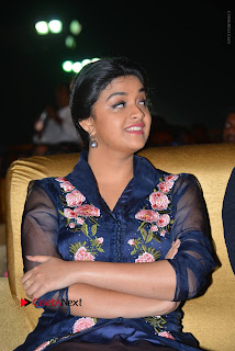 Actress Keerthi Suresh Stills in Blue Long Dress at Nenu Local Audio Launch  0023.JPG